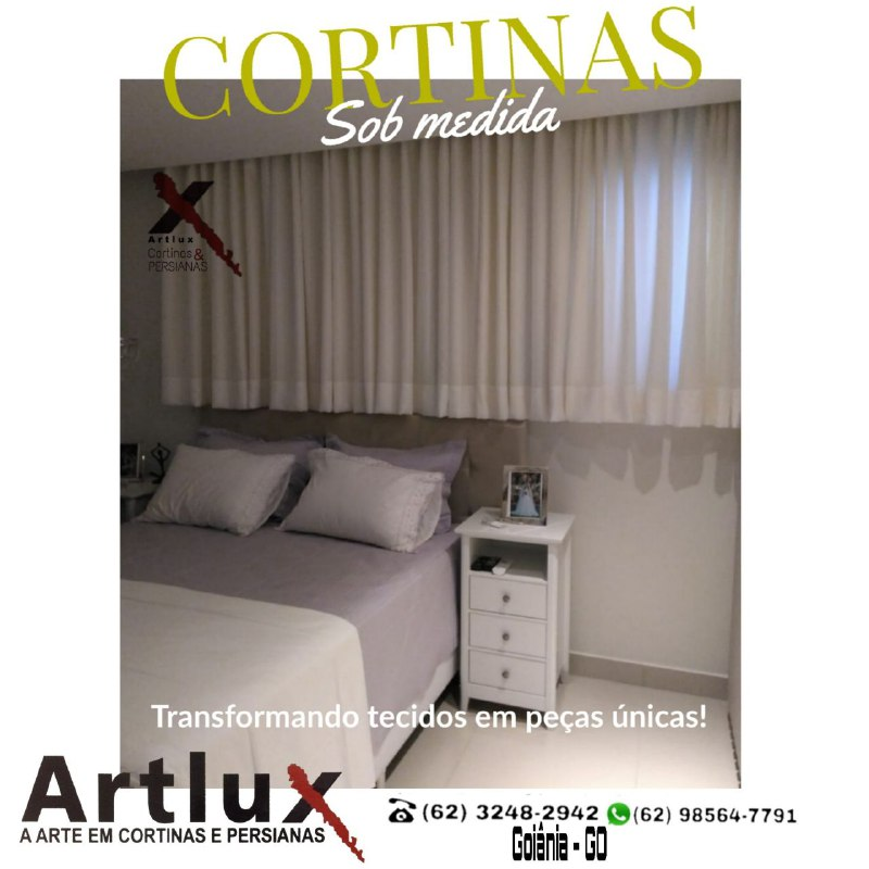 Cortina de Tecido para o quarto - Trilho e cortineiro de gesso - Artlux Cortinas